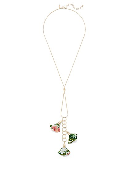 Fabric Floral Y-Necklace - New York & Company