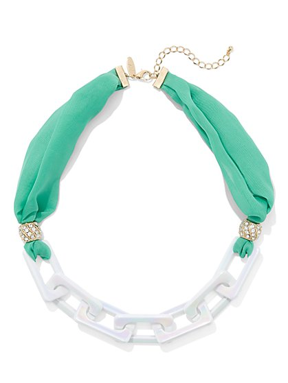 Fabric & Link Statement Necklace - New York & Company