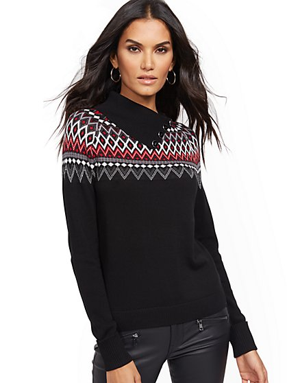 Fair Isle Funnel-Neck Sweater - New York & Company