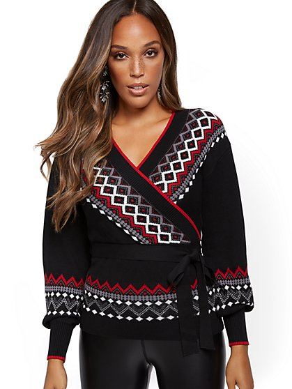 Fair Isle Wrap Sweater - New York & Company