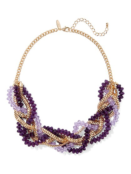 Faux-Amethyst Torsade Necklace - New York & Company