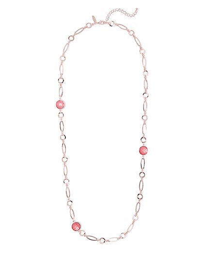 Faux-Coral Rose Goldtone Link Necklace - New York & Company
