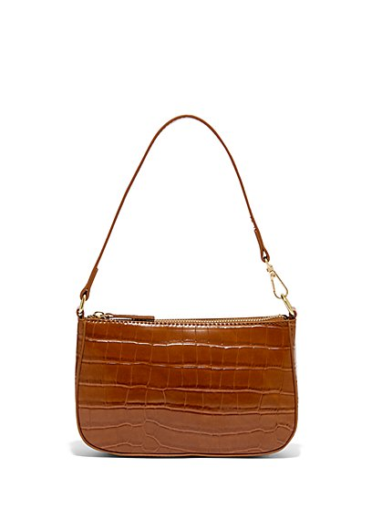 Faux-Croc Leather Embossed Shoulder Bag - New York & Company