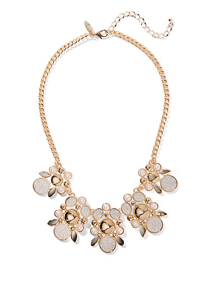 Faux-Druzy Floral Statement Necklace - New York & Company