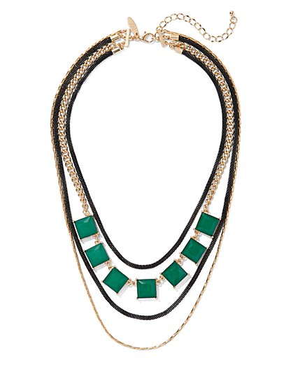 Faux-Emerald Layered Statement Necklace - New York & Company
