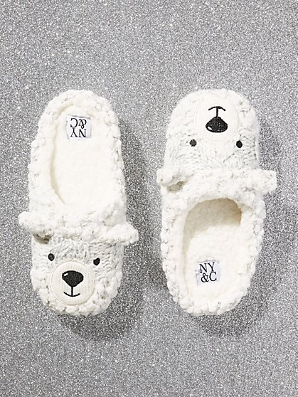 Faux-Fur Bear Slipper - New York & Company
