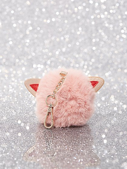 Faux-Fur Cat Pom-Pom Key Chain - New York & Company