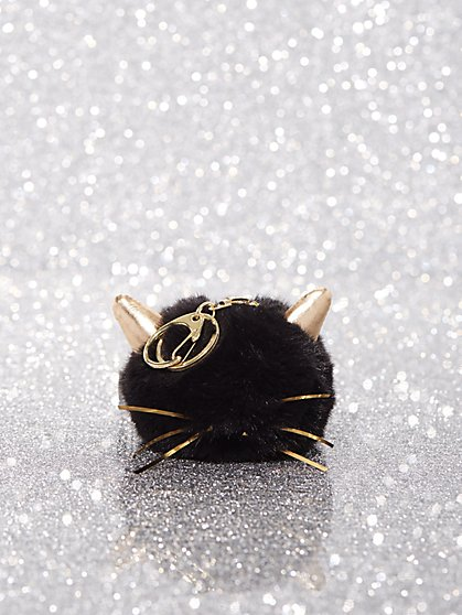 Faux-Fur Cat Pom-Pom Keychain - New York & Company