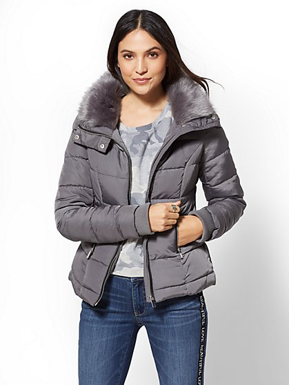 Faux-Fur Collar Quilted Jacket - New York & Company
