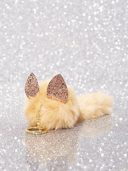 Faux-Fur Fox Pom- Pom Keychain - New York & Company