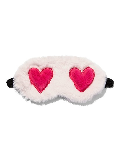 Faux-Fur Heart Eye Mask - New York & Company