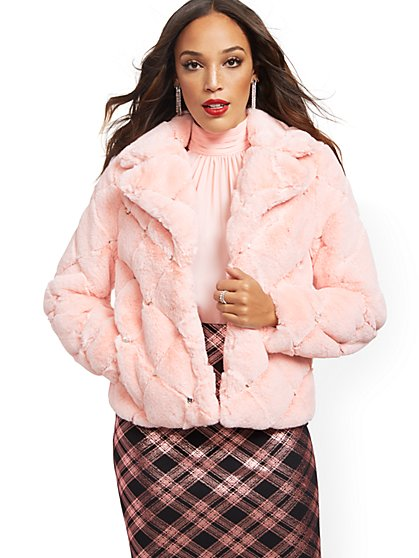 Faux-Fur Jeweled Jacket - New York & Company