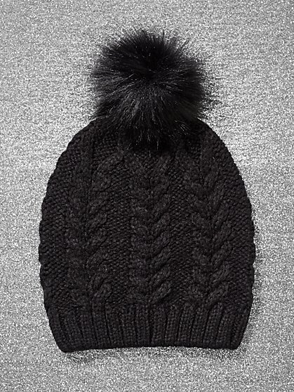 Faux-Fur Pom-Pom Cable-Knit Hat - New York & Company