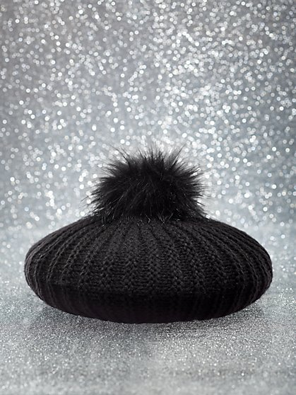 Faux-Fur Pom-Pom Knit Beret - New York & Company