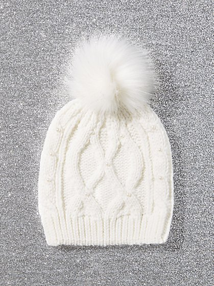 Faux-Fur Pom-Pom Knit Hat - Faux-Pearl Accent - New York & Company