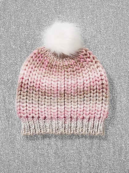 Faux-Fur Pom-Pom Rainbow Knit Hat - New York & Company