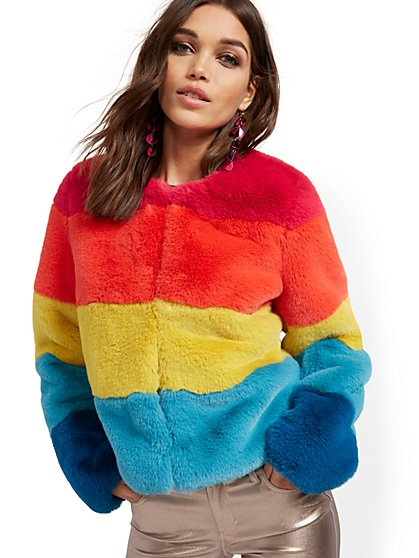 Faux-Fur Rainbow Jacket - New York & Company