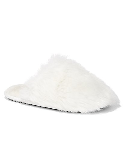 Faux-Fur Scuff Slippers - New York & Company