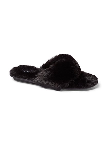 Faux-Fur Thong Slipper - New York & Company