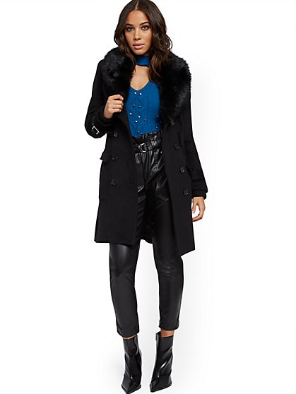 Faux-Fur Trim Belted Coat - New York & Company