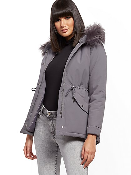 Faux-Fur Trim Hooded Anorak Jacket - New York & Company