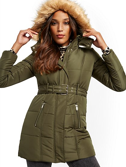 Faux Fur-Trim Hooded Belted Puffer Coat - New York & Company