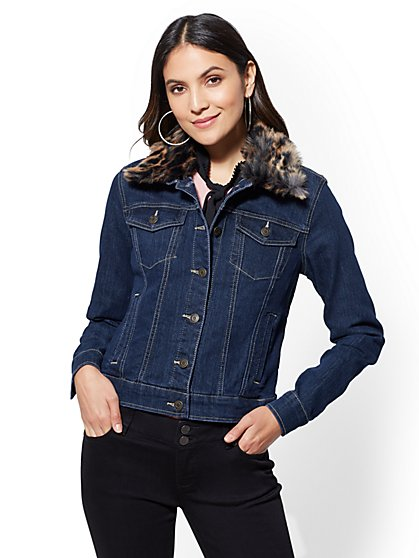 Faux-Fur Trim Jean Jacket - New York & Company