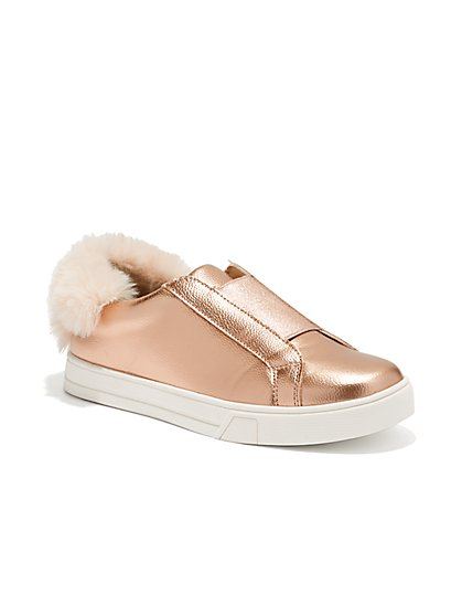 Faux-Fur Trim Metallic Sneaker - New York & Company