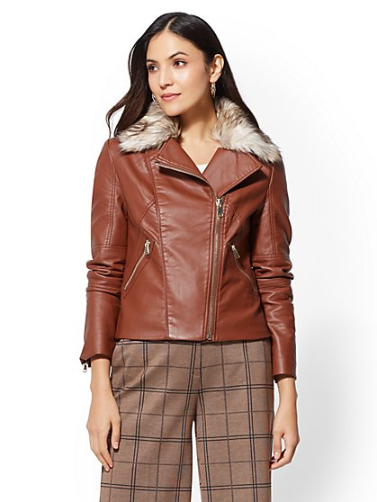 Faux Fur-Trim Moto Jacket - New York & Company