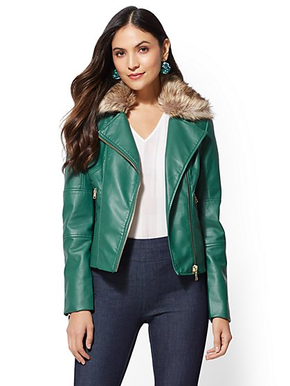 Green Faux Leather Jackets For Women Ny C