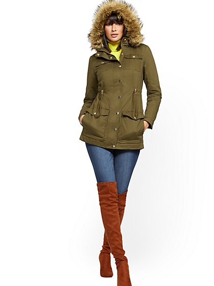 Faux Fur-Trim Sherpa-Lined Cozy Anorak - New York & Company