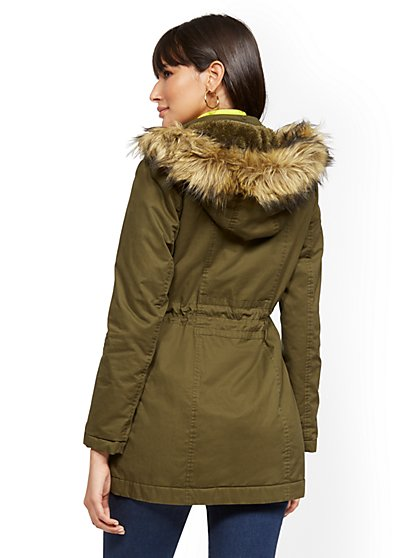 45b9aad89b71d ... Faux Fur-Trim Sherpa-Lined Cozy Anorak - New York   Company