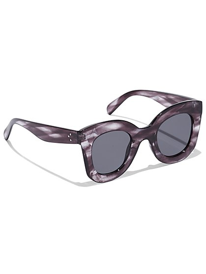 Faux-Horn Cat-Eye Sunglasses - New York & Company