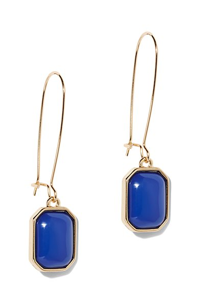 Faux-Lapis Goldtone Drop Earring - New York & Company