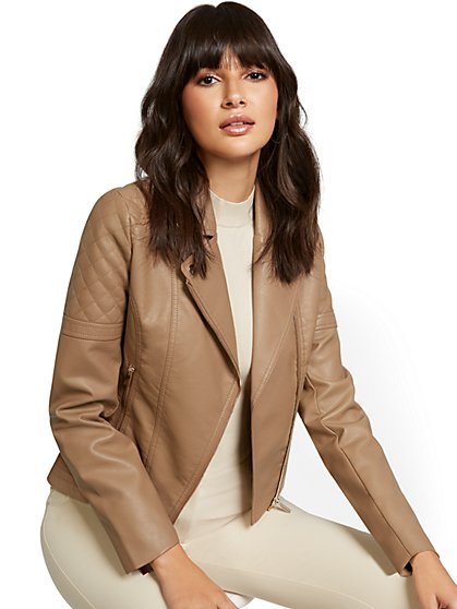Faux-Leather Asymmetrical Moto Jacket - New York & Company