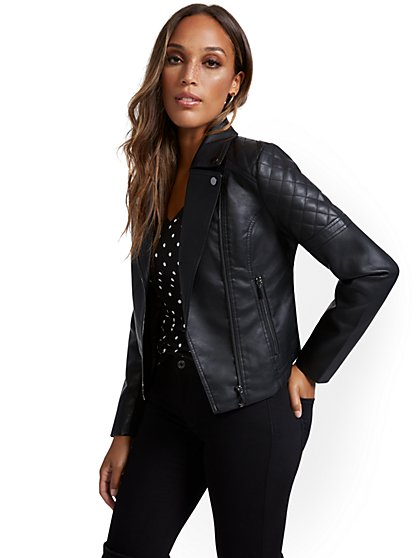 Faux Leather Asymmetrical Moto Jacket - New York & Company