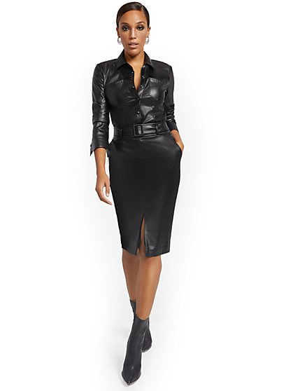 Faux Leather Belted Pencil Skirt - New York & Company