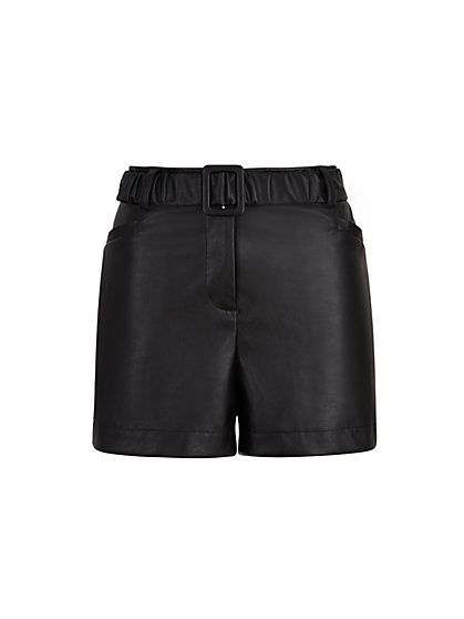 Faux-Leather Belted Short - The NY&C Legacy Collection - New York & Company
