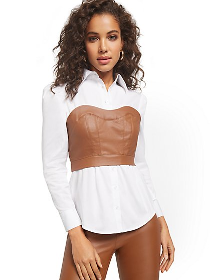 Faux-Leather Bustier Button-Down Twofer Blouse - New York & Company