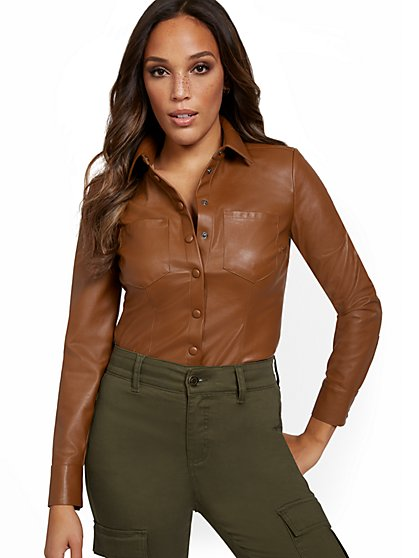 Faux-Leather Button-Down Shirt - New York & Company
