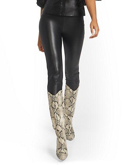 Faux-Leather Carrie Pull-On Pant - New York & Company