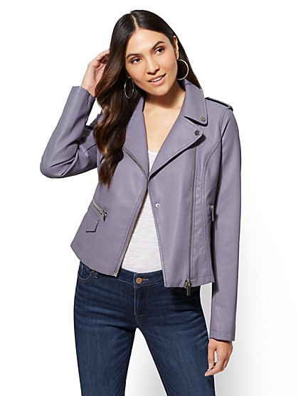 Faux Leather Collar Moto Jacket - New York & Company