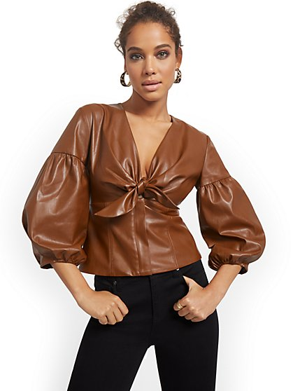 Faux-Leather Corset Top - New York & Company