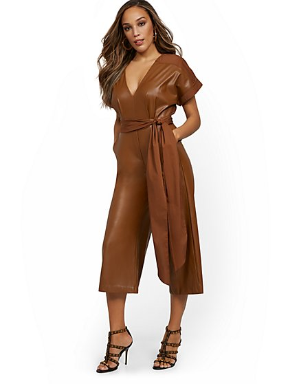 Faux-Leather Culotte Jumpsuit - New York & Company