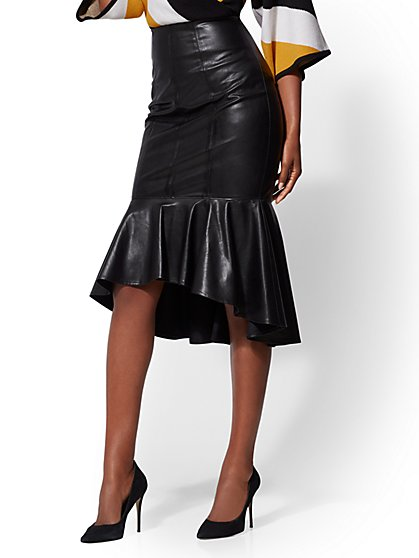 Faux-Leather Hi-Lo Skirt - New York & Company