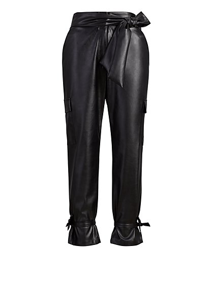 Faux Leather High-Waist Tie-Cuff Cargo Pant - New York & Company