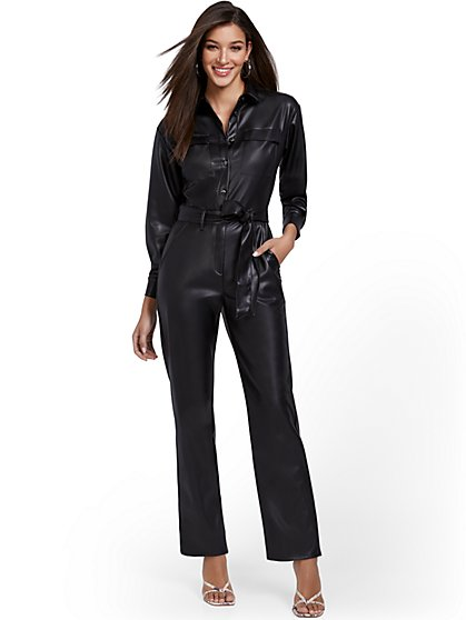Faux-Leather Long-Sleeve Jumpsuit - New York & Company