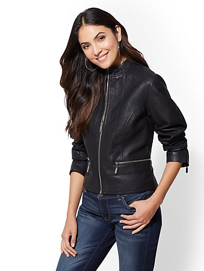 Faux Leather Moto Jacket - New York & Company