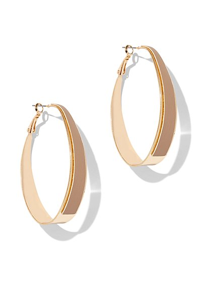 Faux-Leather Oval Hoop Earring - New York & Company