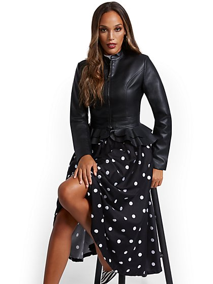 Faux Leather Peplum Jacket - New York & Company